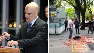 Manifestantes atiram tomates em protesto contra Gilmar e Moraes