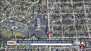 Entrance to Lee Memorial Hospital in Fort Myers blocked