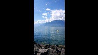 Heaven lake in Switzerland transparent water