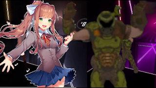 Monika VS Doom Guy Burning Sands Hard Beat Saber!
