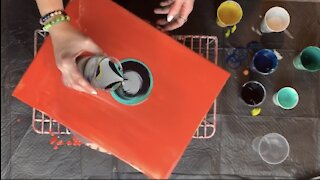 (14) Acrylic Pour Painting on a Turntable -Relaxing Fluid Art Funky!