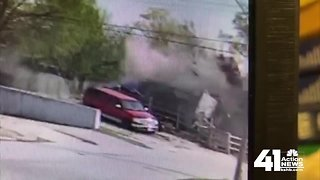 Surveillance video captures house explosion in KCMO