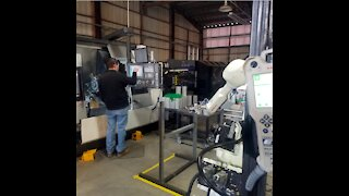 Okuma Lathe Machine Tending Robot by BTS