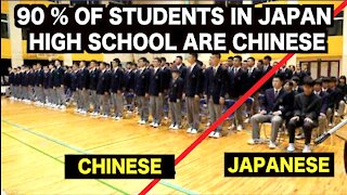 Chinese national anthem is being played in a Japanese high school.
