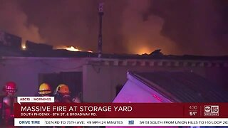 Large fire breaks out at storage yard in Phoenix