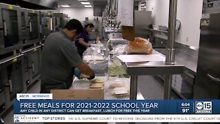 Free meals for students during the 2021-2022 school year