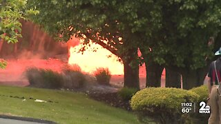 Three people hurt after gas main fire in Pikesville