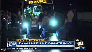 300 homeless people still in SDCCU Stadium after floods
