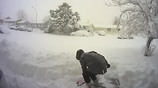 Woman calls it quits after snow shelf falls on freshly shoveled walkway