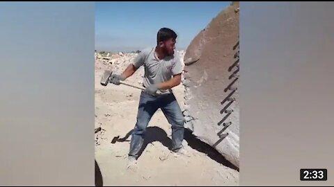 Rock cutting through hammer