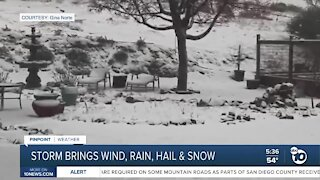 Cold storm brings wind, rain, hail, and snow to San Diego County