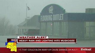 Heavy rain and lightning hits Muskogee