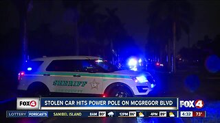 Deputies search for driver who crashed into power pole in Fort Myers