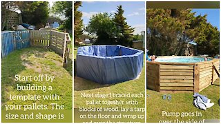 Man builds incredible homemade pallet pool all on his own