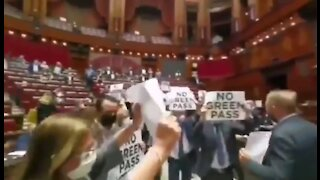 UNPRECEDENTED Scenes Inside Italian Parliament NO GREEN PASS Protest