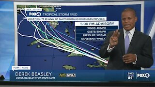 Tropical Storm Fred now over the Dominican Republic