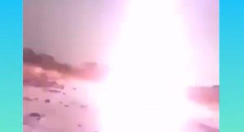 Huge lightning strike near hit.