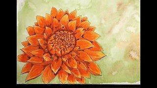 Fall Flower Watercolor Painting Speedpainting Timelapse