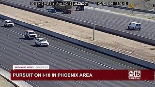 Authorities in pursuit of vehicle on on Phoenix freeways