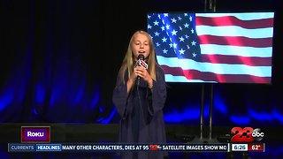 Local singer, Lauren Kaff sings National Anthem