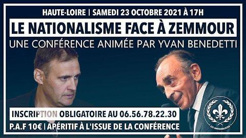 Le nationalisme face à Zemmour - Annonce de la Conférence D'Yvan Benedetti