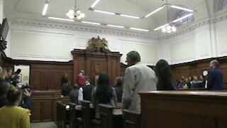 Judge Siraj Desai handing down sentencing in the Van Breda triple murder case (CTS)