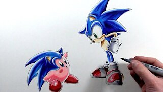 Drawing Sonic and Kirby!