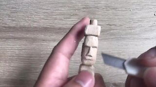 How to carve a miniature Easter Island head statue