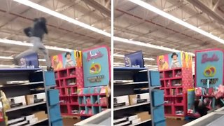 Guy Literally Falls Head Over Heels For Barbie – After Crashing Head-first Through Doll Display