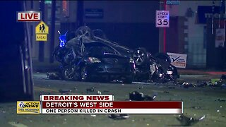 One person killed in crash on Detroit's west side
