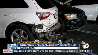Suspected DUI driver slams into parked vehicles at San Marcos apartment complex, flees scene