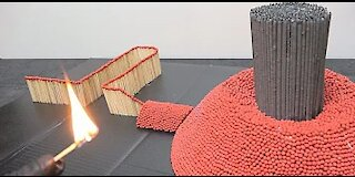 CHAIN REACTION OF MATCHES AN INCREDIBLE FIRE DOMINO