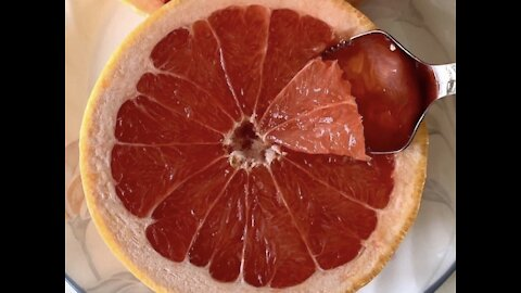 Enjoying a delicious grapefruit with the correct tool