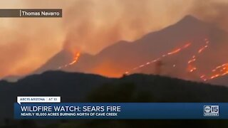 Fire crews battling 9,200-acre 'Sears Fire' burning north of Cave Creek