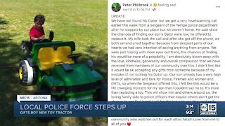 Tempe police officers replace stolen toy gator tractor for young boy