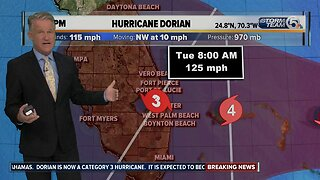 Hurricane Dorian now a Category 3 storm, could hit Florida early Tuesday as Category 4
