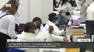 Absentee ballot counts underway at TCF Center in Detroit