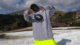 Snowboarder takes advantage of remaining snow in Italian Alps