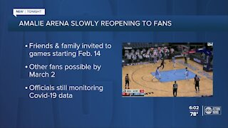 Amalie Arena will begin allowing some fans at Raptors games