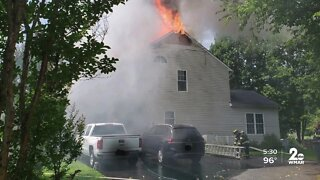 Family escapes from burning home in Harford County
