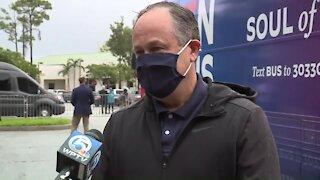 WEB EXTRA: Kamala Harris' husband campaigns in Palm Beach County