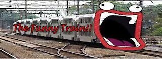 funny train in football field