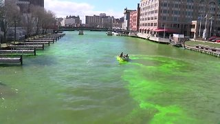 Here's what a green Milwaukee River looks like