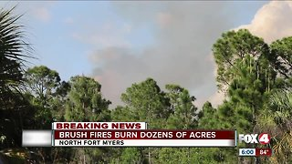 Growing brush fire in North Fort Myers