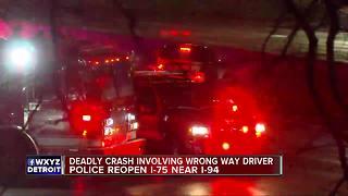 Police reopen SB I-75 after deadly crash involving wrong-way driver