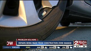 Repairs being made from construction zone damage