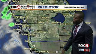 Hot with scattered storms on Sunday
