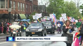 Buffalo painted in a huge rainbow for Pride Parade