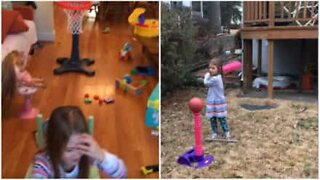 Persistent girl pulls amazing basketball tricks