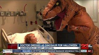 Bakersfield doctor dresses as dinosaur for Halloween